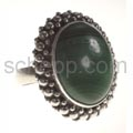 Ring with malachite, oval