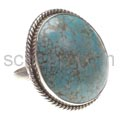 Ring with turquoise, round, large