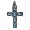 Pendant, cross with red Zirconia