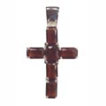 Anhänger, Kreuz mit rotem Zirkonia