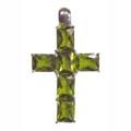 Pendant, cross with light green Zirconia