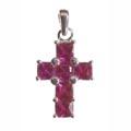 Pendant, cross with pink Zirconia