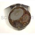 Ring mit echten Muscheln in Kunstharz, rund