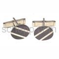 Manschettenknöpfe mit schwarzen Streifen, oval